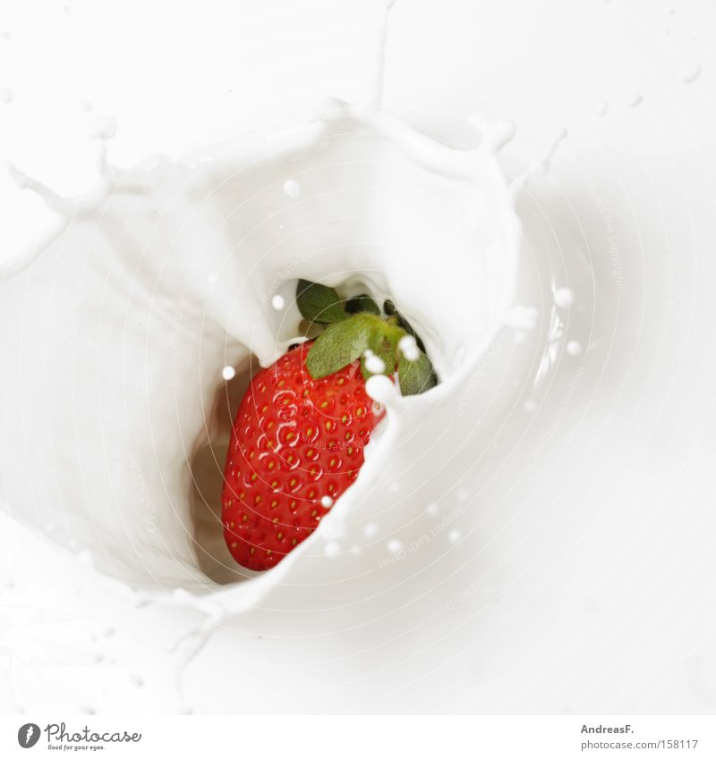 Healthy Fruit Nutrition Drop Gastronomy Breakfast Sense of taste Aromatic Strawberry Milk Beverage Yoghurt Dairy Products Milkshake Berries