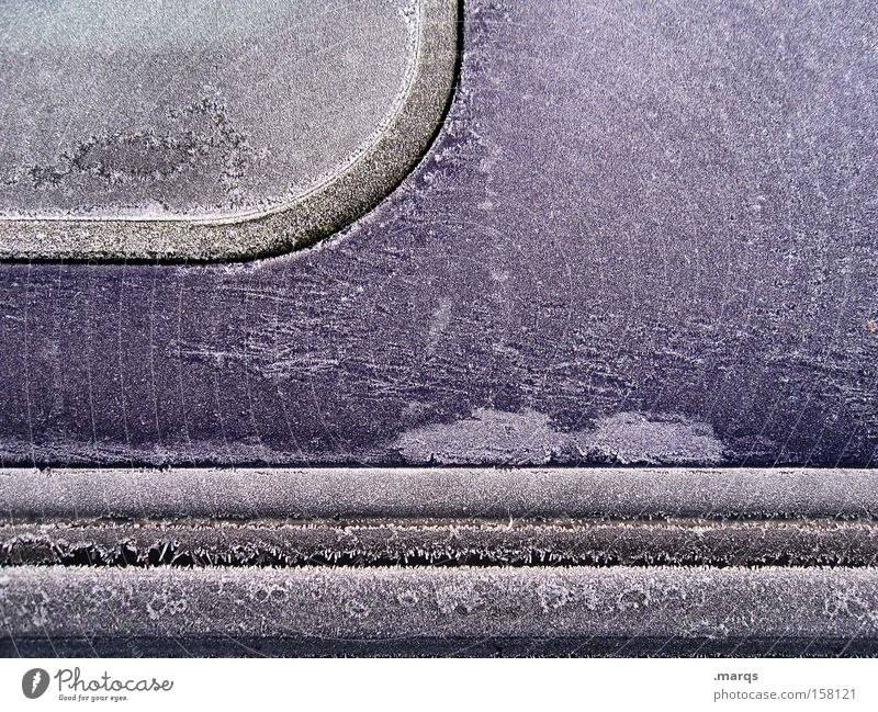 Winter Cold Car Ice Metal Transport Closed Motor vehicle Roof Violet Frozen Ice crystal Rubber