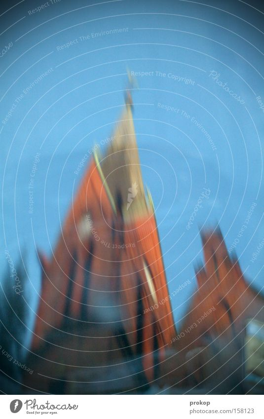 The bell ringer's drunk. Church Church spire Tower Holy Blur Distorted Reflection Bell tower Sky Beautiful Beautiful weather Cloudless sky Blue Baroque Brick