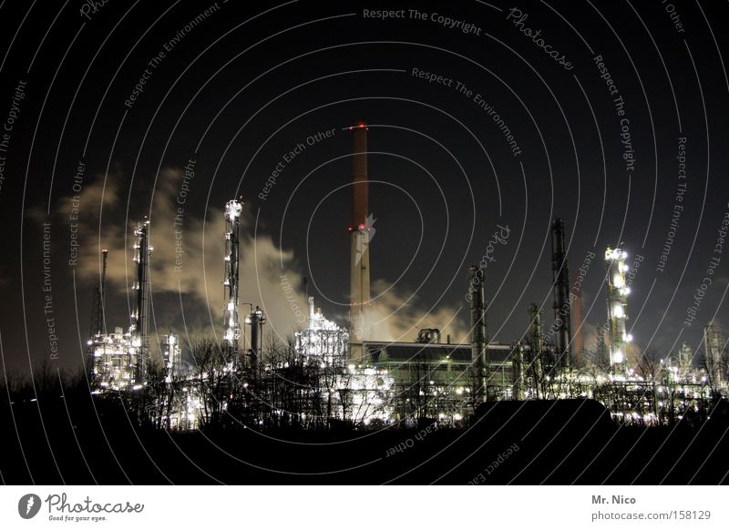 night shift Factory Night Smoke Steam Dark Light Chimney Shift work Chemical factory Environmental protection Environmental pollution Climate change Workplace