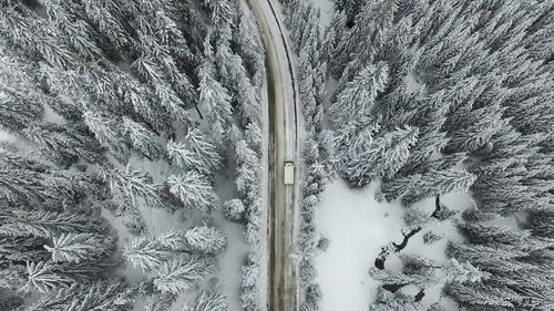 Snowy Road with a Car in the Forest Nature White Tree Landscape Winter Mountain Street Frost Seasons Curve Freeze Height Rural