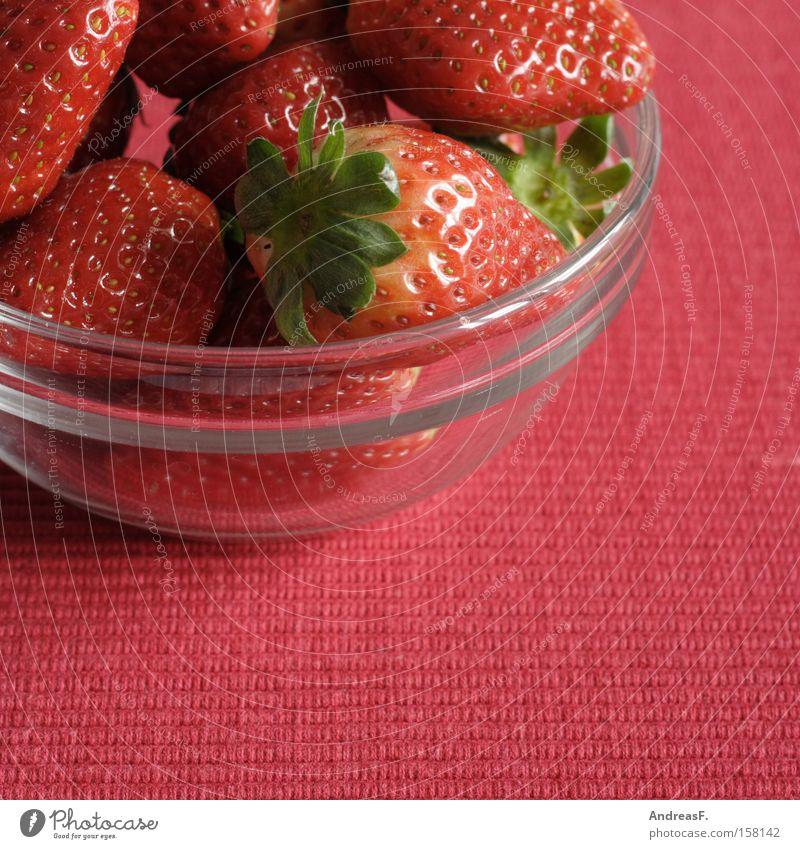 Red Summer Nutrition Fruit Fresh Sweet Mature Vitamin Bowl Berries Strawberry Vegetarian diet Glass bowl