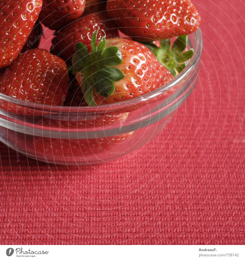 Red Summer Nutrition Fruit Fresh Sweet Mature Vitamin Bowl Berries Strawberry Vegetarian diet Glass bowl