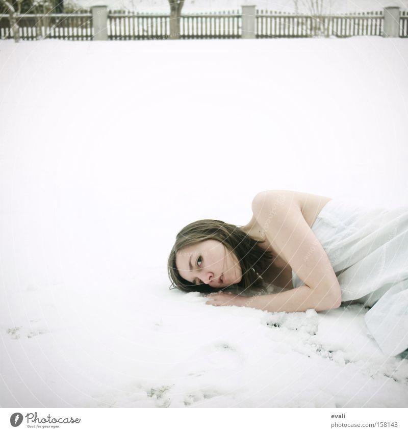 Woman White Snow Lie Clothing Dress Colour