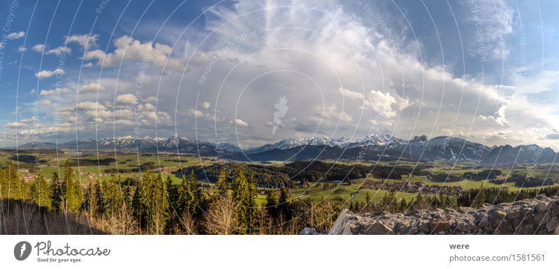 Castle ruin with view Calm Vacation & Travel Mountain Nature Plant Clouds Forest Alps Pond Lake Far-off places Wanderlust Allgäu panorama Vacation home