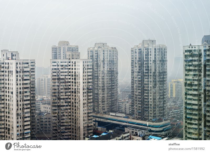 Around the World in China: Nanjing Populated Overpopulated House (Residential Structure) Town Gloomy High-rise Living or residing Smog Colour photo