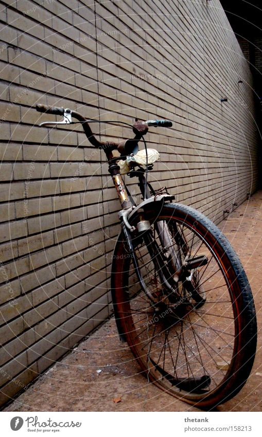 Old Calm Loneliness Wall (building) Bicycle Broken Transience Derelict Brick Past Rust Memory Forget Scrap metal Trash Wreck