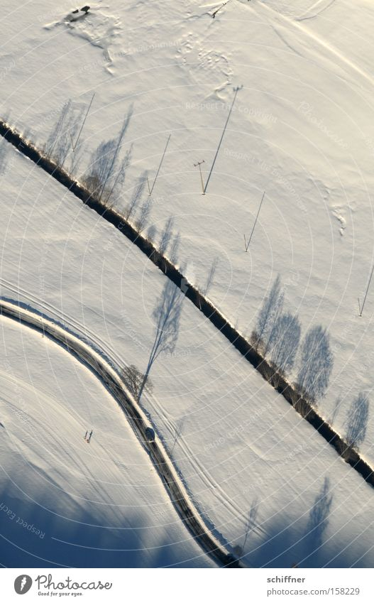 Tree Winter Street Cold Snow Landscape Line Airplane Vantage point Brook Valley Black Forest Highlands Wavy line