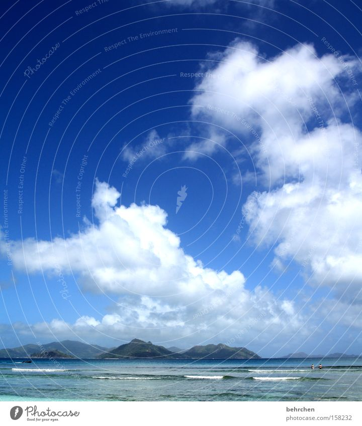 summer, palms, sunshine... Seychelles Dream island Clouds Sky Ocean Waves Blue Wanderlust To enjoy Honeymoon Mountain Beach Coast Vacation & Travel