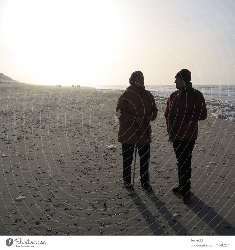 Woman Human being Sun Ocean Winter Beach To talk 2 Coast North Sea Denmark