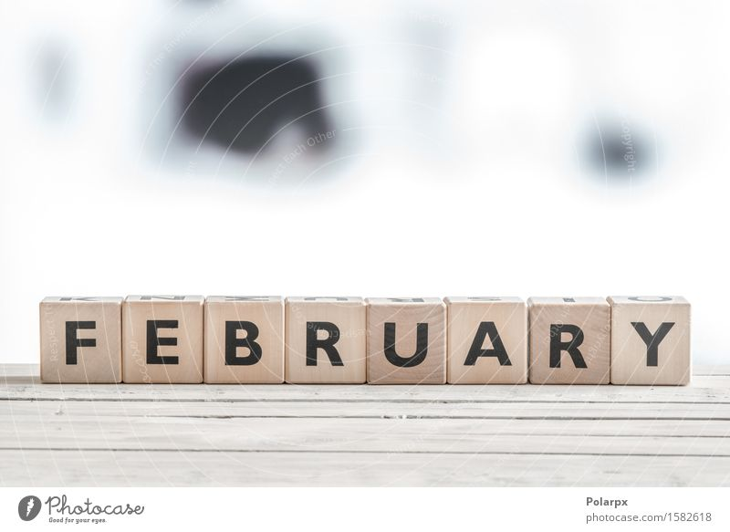 February sign on wooden blocks Vacation & Travel Colour Relaxation Winter Wood Playing Design Body Creativity Table Idea Symbols and metaphors Discover Calendar