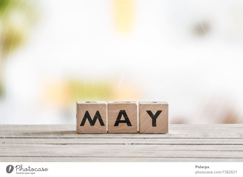 May word on wooden sign Colour White Wood Playing School Design Infancy Creativity Table Idea Seasons Symbols and metaphors Calendar Toys Word Desk
