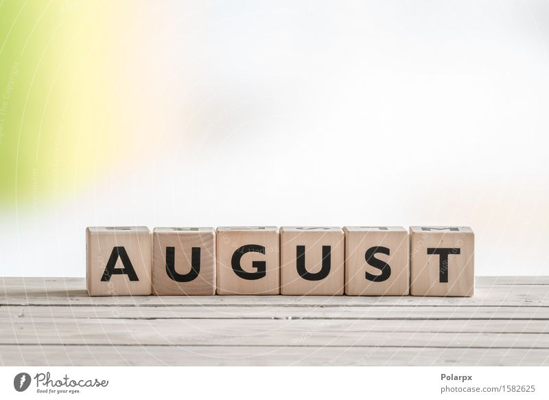 August sign on wooden cubes Vacation & Travel Green Summer Colour Wood Playing School Design Creativity Simple Reading Symbols and metaphors Toys Word Desk Text