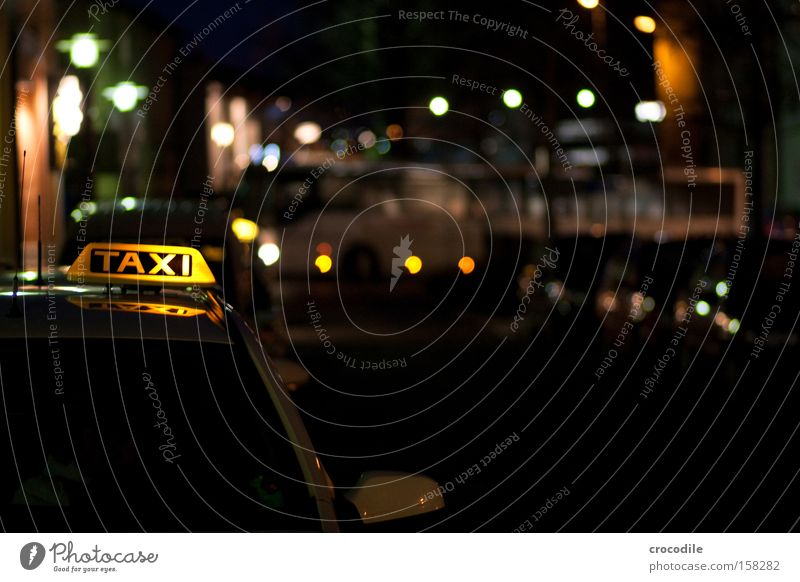 taxi Taxi Motor vehicle Driving Taxidriver Blur Train station Driver Night Dark Street Stand Wait Bus Lamp Floodlight Car headlights Services Communicate