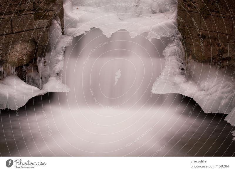 icefall Munich Brook Waterfall Flow Ice Wall (barrier) Artificial Frozen Cold Winter Long exposure Peace