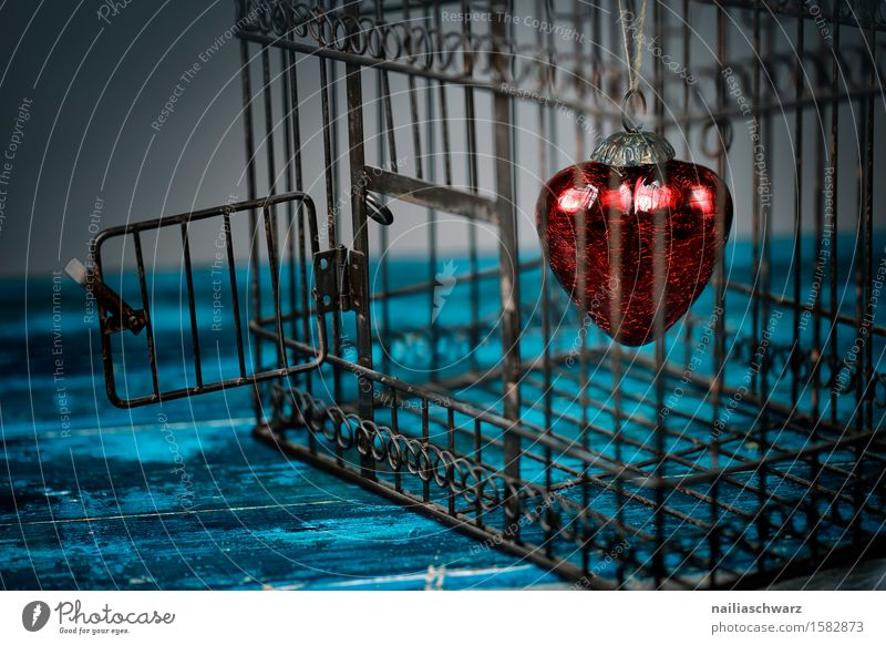 Red Hearts Valentine's Day Cage Wood Rust Love Dark Retro Blue Turquoise Loyalty Purity Belief Sadness Grief Lovesickness Longing Relationship Colour