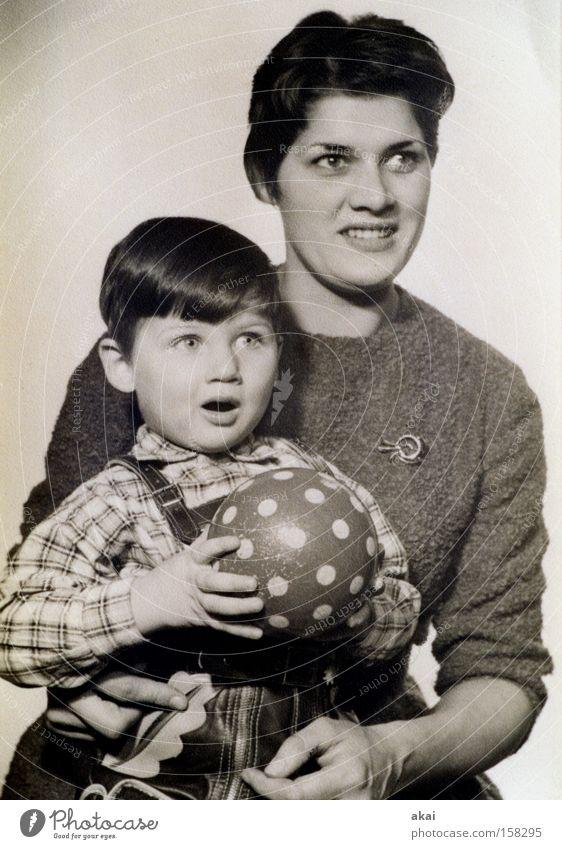 1960....... Photography Photographer Portrait photograph Child Son Mother Ball Leather shorts Lederhosen Retro Ancient Nostalgia Small Services