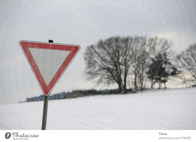 Winter Cold Snow Signs and labeling Nature Snowscape Warning label Triangle Road sign Warn Pampa Yield sign