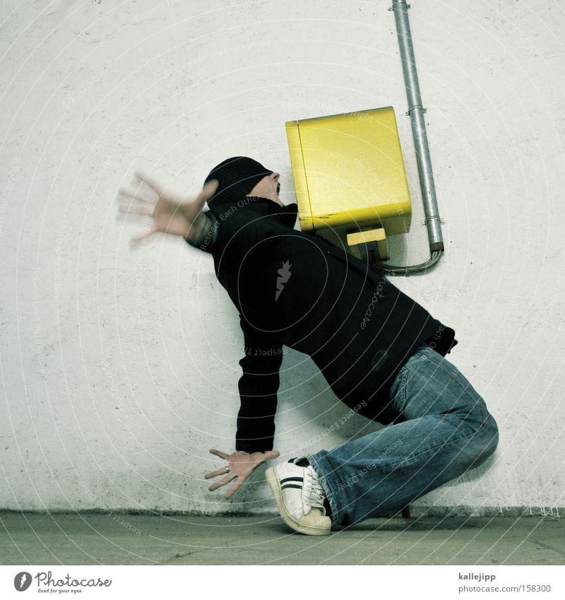 S.O.S. To talk Scream Needy Panic Fear Human being Man Parking garage Box Control barrier Pants Jacket s.o.s.