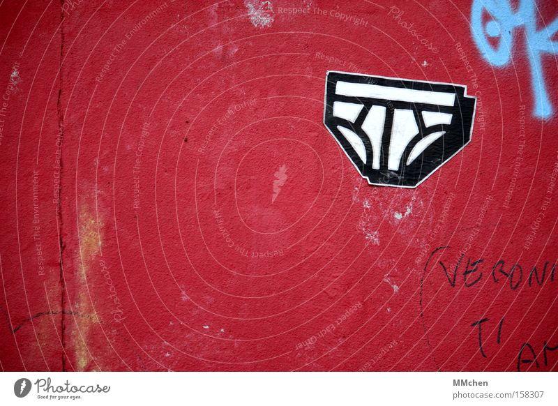 White Red Berlin Graffiti Clothing Monument Landmark Underwear Underpants Mural painting Laundered Fine rib The Wall