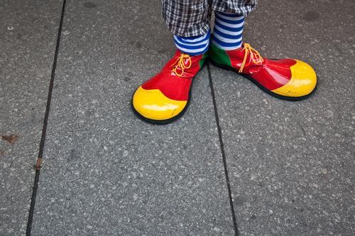 Clown Hoppla Joy Feasts & Celebrations Carnival Human being Feet 1 Stockings Footwear Funny Multicoloured Yellow Red Funster Striped socks Detail Costume