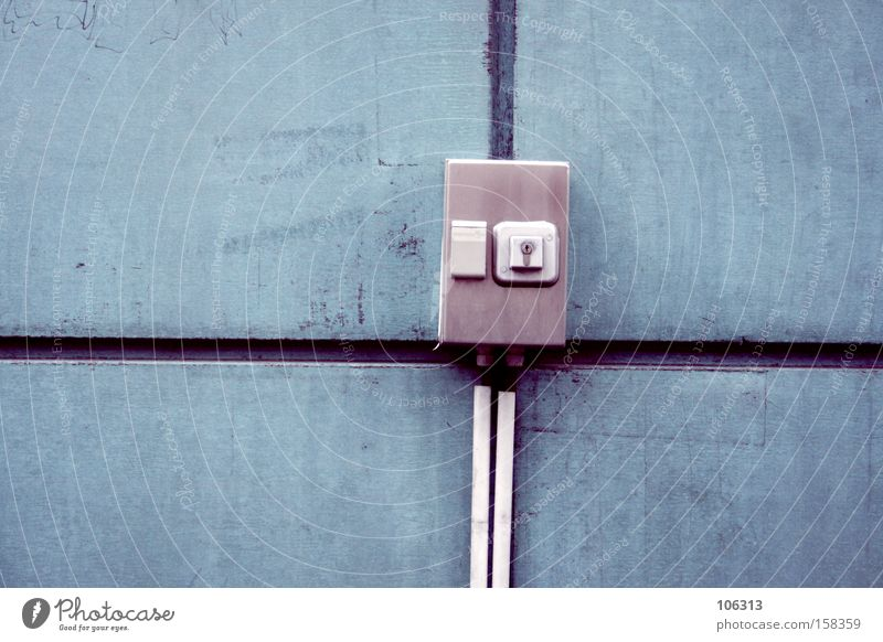 Photo number 113065 Industry Cable Box Key Blue Colour Wall (building) Electricity Distributor Seam what ever Line Square Keyhole Switch switch box Figure