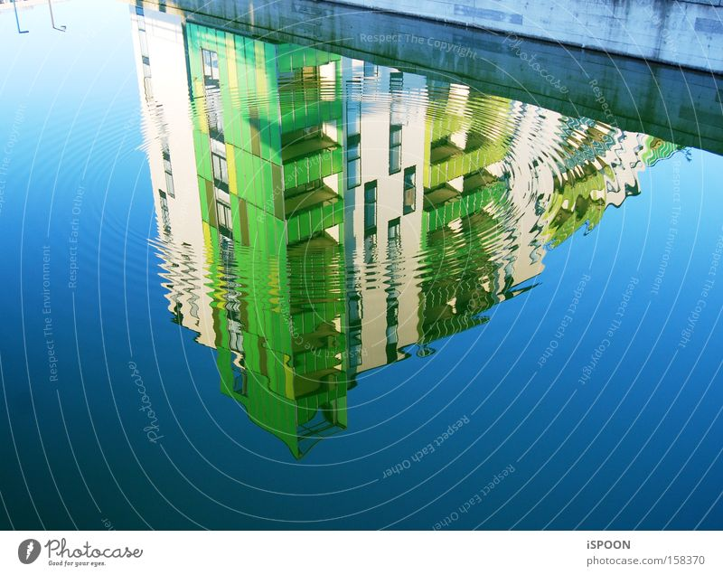 Two street lamps House (Residential Structure) Water Street Blue Green Copenhagen Building Reflection Waves Circle Modern