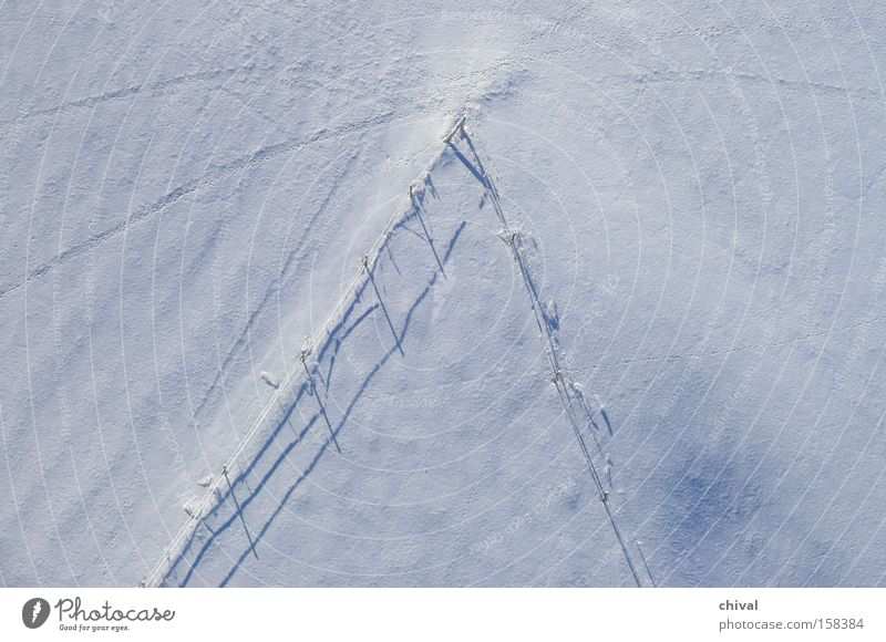 Tracks in the snow Winter Tree Shadow Meadow Light Snow Cold Bird's-eye view Contrast Puzzle Leisure and hobbies