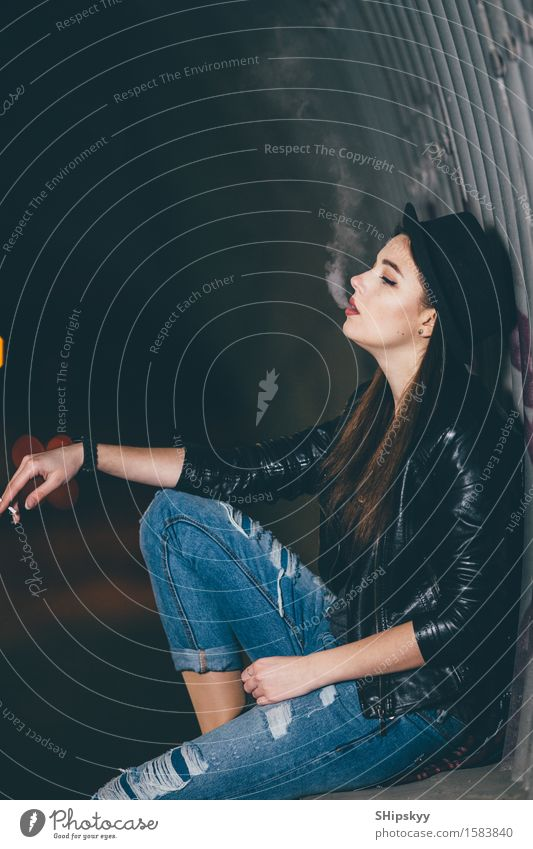 Young girl sitting on the floor and smoke Style Face Make-up Human being Girl Woman Adults Arm Hand Fog Town Street Car Fashion Hat Think Stand Dark Eroticism