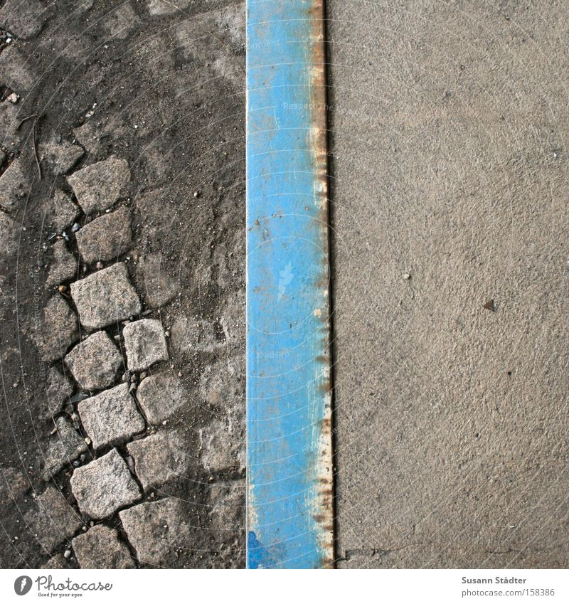 Blue Street Colour Above Dirty Concrete Industry Industrial Photography Factory Train station Cobblestones Iron Left Paving stone Right Chemnitz