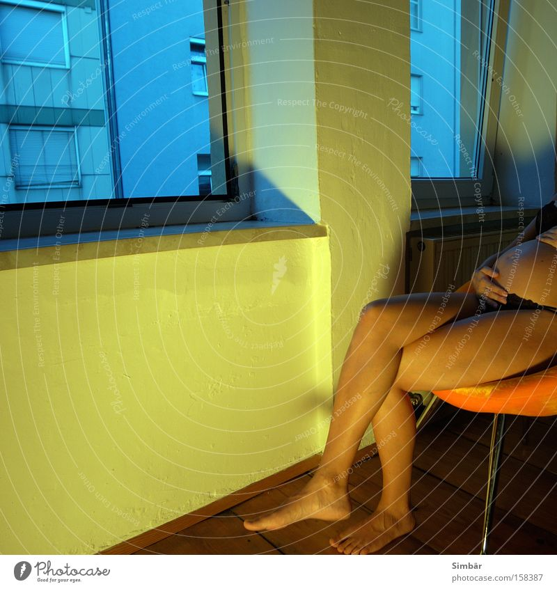 Woman Hand Love Feminine Wall (building) Window Nude photography Legs Orange Skin Flat (apartment) Sit Chair Pregnant Stomach Crouch