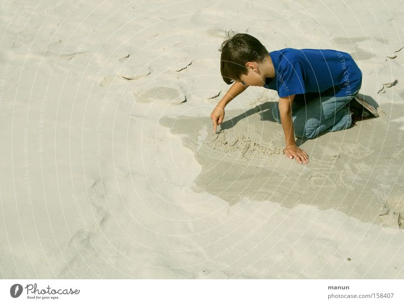 Child Human being Youth (Young adults) Summer Vacation & Travel Beach Calm Relaxation Playing Boy (child) Sand Infancy Study Education Write Concentrate