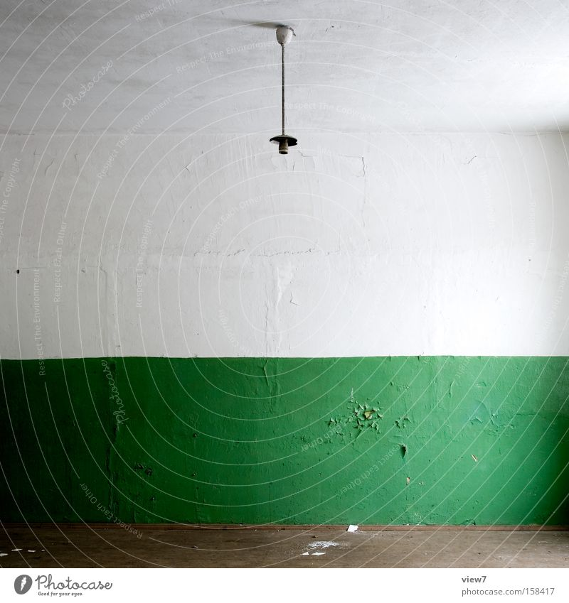 green Colour Paintwork Varnish Green Wall (building) Wallpaper Structures and shapes Arrangement Lamp Empty Moving (to change residence) Decline Floor covering