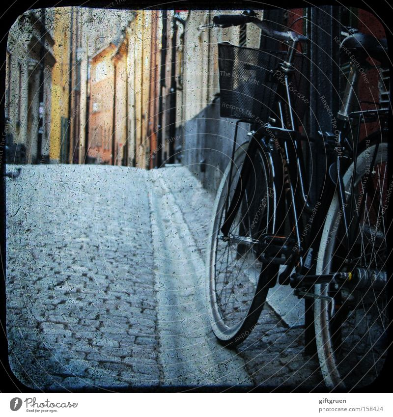 House (Residential Structure) Street Bicycle Transport Europe To go for a walk Traffic infrastructure Cobblestones Parking Pigeon Alley Lean Old town