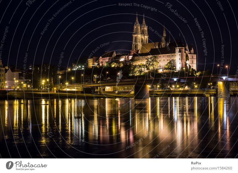 Albrechtsburg Castle in Meissen Tourism Sightseeing City trip Architecture Culture Environment Landscape Water Night sky River bank albrechtsburg Saxony Elbe