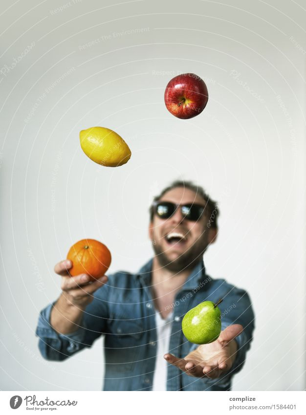 Man Healthy Eating Joy Adults Life Lifestyle Laughter Happy Food Health care Fruit Nutrition Orange Drinking