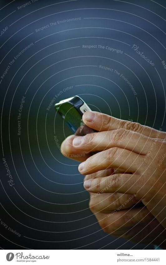 Blue Hand Communicate Technology Telecommunications Fingers Telephone Network Contact Internet Cellphone Information Technology PDA SMS Entertainment electronics Inform