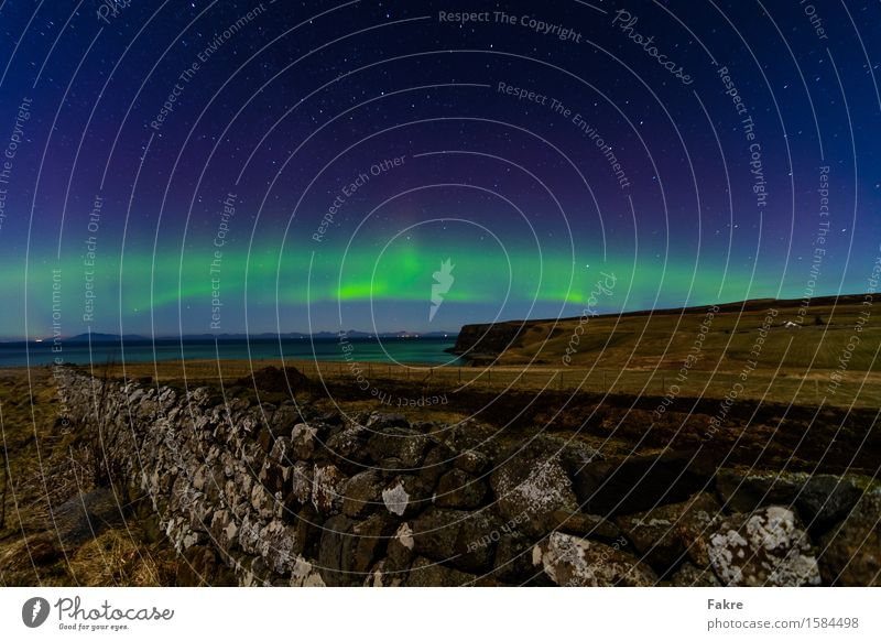 Sky Nature Landscape Environment Coast Wall (barrier) Air Earth Fantastic Stars Elements Lakeside Cloudless sky Exotic Scotland Aurora Borealis