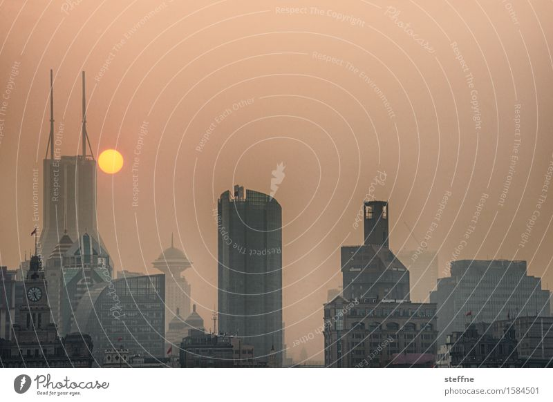 Coruscant Skyline Exceptional China Sunset Shanghai Smog Future Environmental pollution Extraterrestrial High-rise Colour photo Subdued colour Exterior shot
