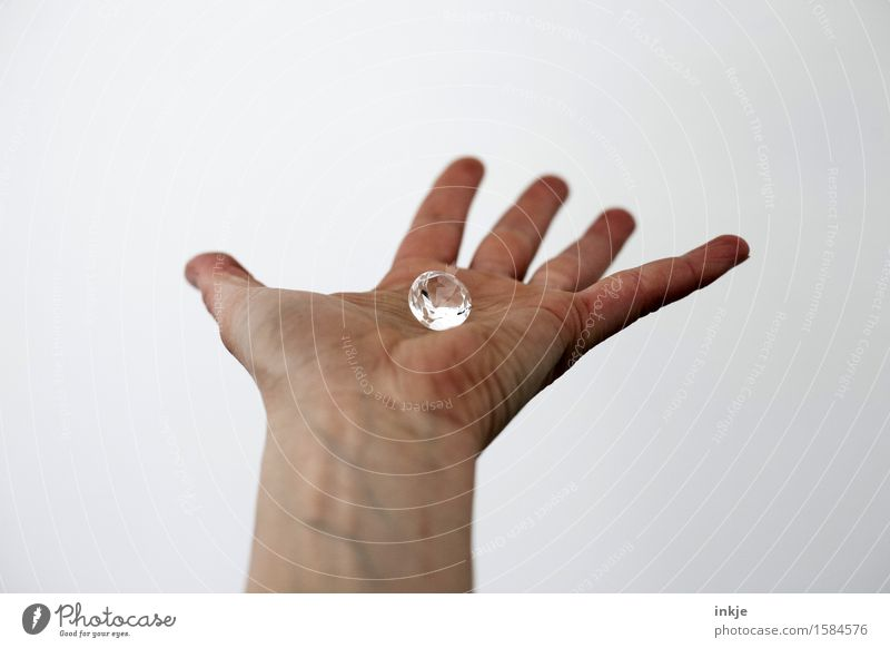 rock Luxury Hand Palm of the hand 1 Human being Brillant Diamond Jewellery Glass Crystal To hold on Glittering Large Pure Indicate Bright background Precious