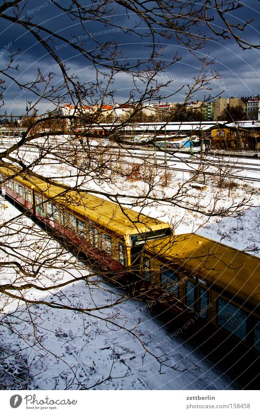 Berlin Winter Snow layer Commuter trains Horizon Skyline Railroad tracks Logistics Provision Public transit Transport transport accessibility