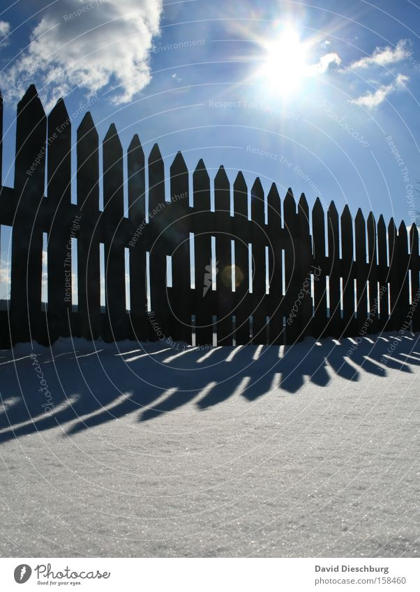Sky Nature Blue White Sun Clouds Winter Black Landscape Cold Snow Air Beautiful weather Fence Upward Picturesque