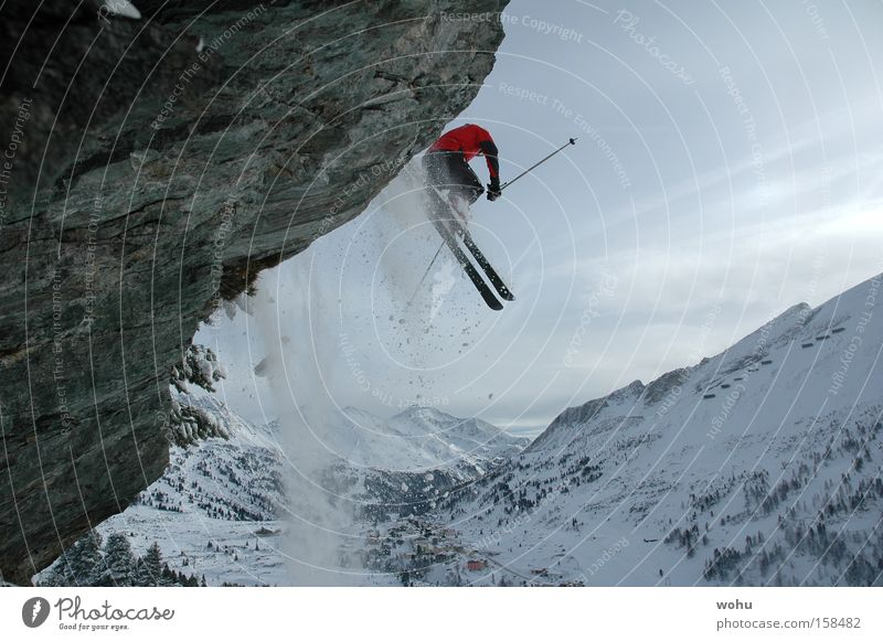 Winter Sports Snow Jump Mountain Snowfall Flying Rock Skiing Aviation Skis Austria Extreme Winter sports Salzburg Federal State of Salzburg