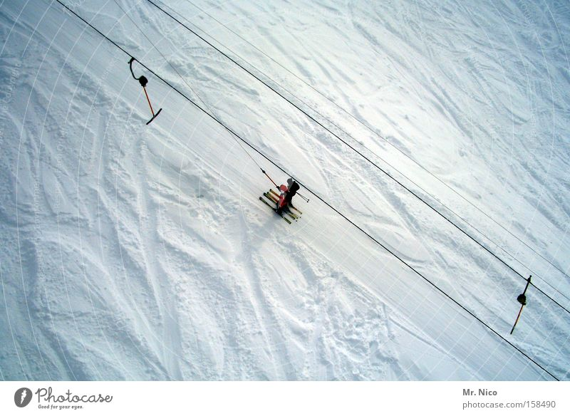 White Winter Snow Mountain Skiing Tracks Upward Winter sports Ski run Alpine Ski lift Winter vacation