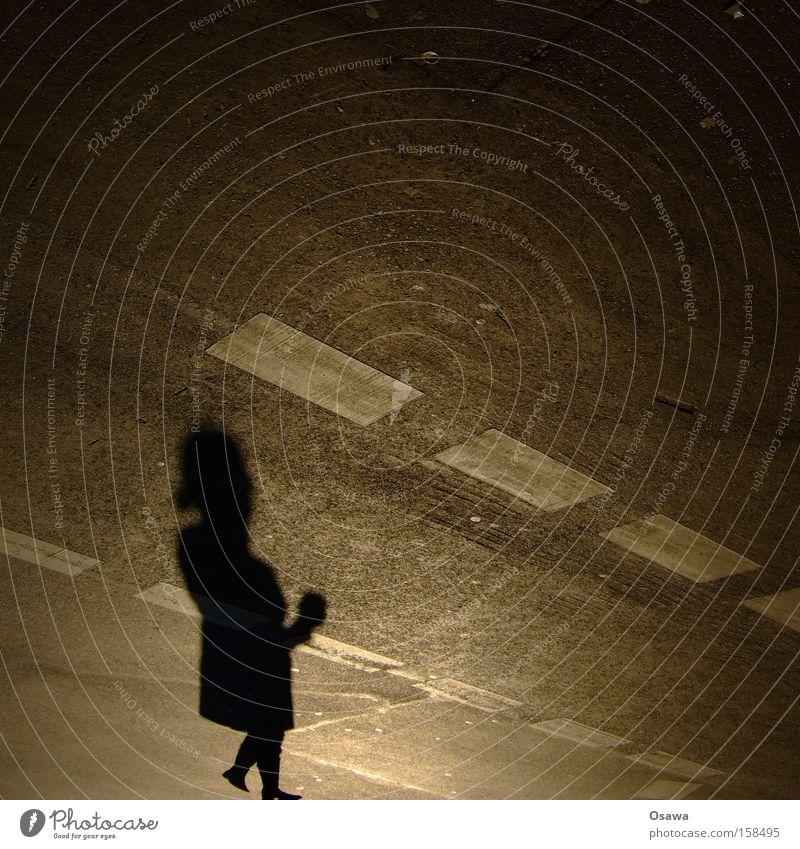 Woman Human being Joy Black Street Gray Going Perspective Asphalt Distorted Lane markings Hydrocephaly