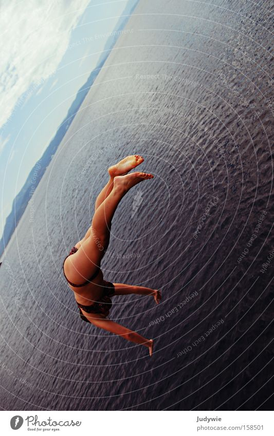 Handstand on the sea Jump Water Wet Ocean Woman Swimming & Bathing Bikini Lake Summer Joy Sports Vacation & Travel