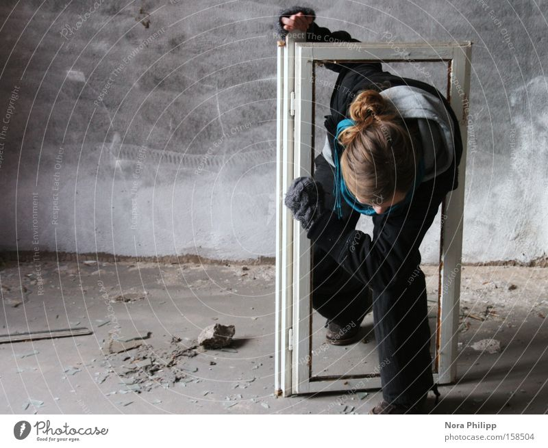 Woman Old Emotions Window Head Power Force Factory Broken Painting and drawing (object) Frame Stride Outbreak Drift Window frame