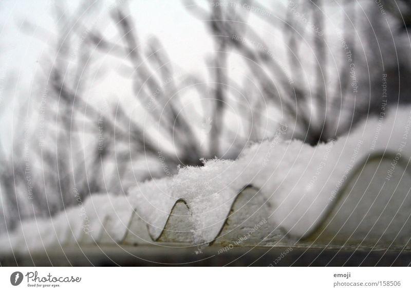 corrugated sheet Corrugated sheet iron Tin Curve Snow layer Winter Exterior shot