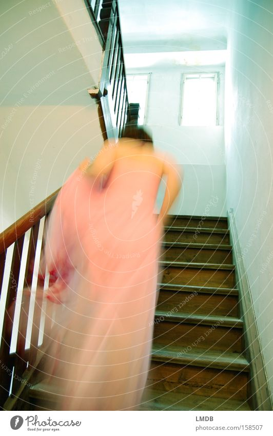 in a hurry Princess Fairy tale Dress Romance Stairs Go up Woman Escape Lateness Pipe dream Beautiful Ladder Sleeping Beauty Haste Walking chime fairylike