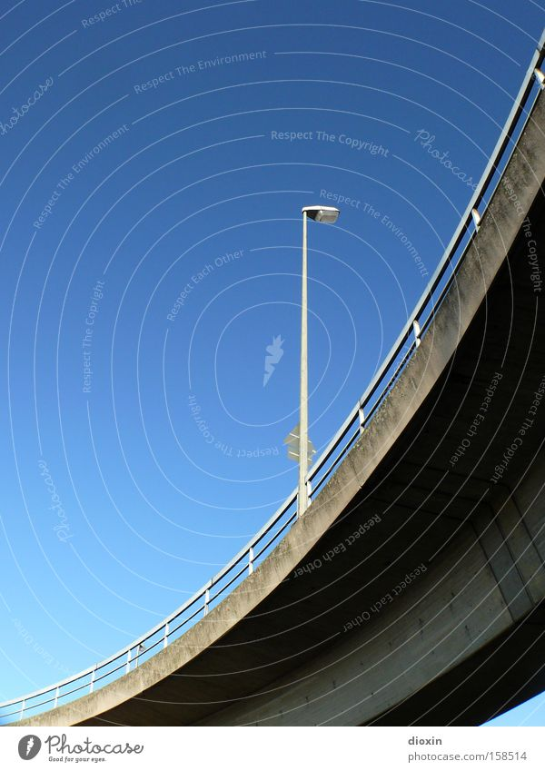 less than two Street lighting Lamp Handrail Bridge railing Overpass Blue Sky Beautiful weather Cloudless sky Curve Curved Concrete Traffic infrastructure